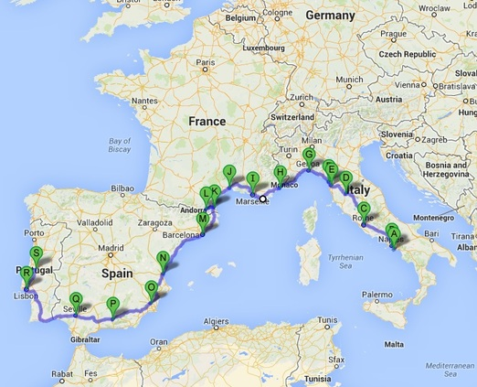 Map Of Italy France And Spain.Leg 1 Italy France Spain Portugal Welcome To Tricia